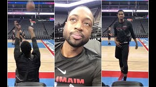 Hassan Whiteside hits impossible shot, tries to impress Dwyane Wade with it