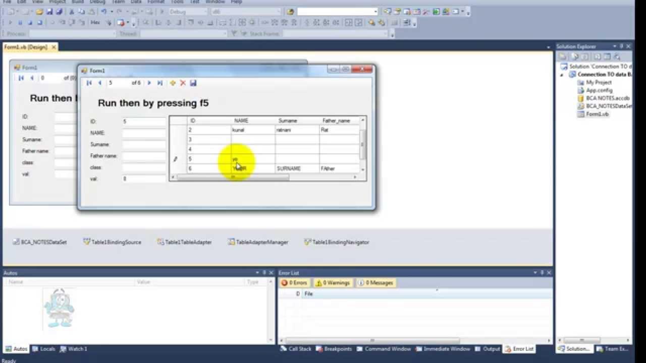 Visual Studio Ms Access Using Data Source And Data