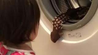 Cute Baby Dhuhaa Sophea Washing Clothes