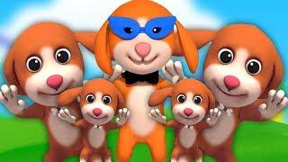 Пять маленьких щенков   детские рифмы для детей   песня для детей   Pets Song   Five Little Puppies