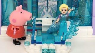 Peppa pig y princesa Elsa lego en español:la cerdita y amigos en castillo de hielo.Video para niños