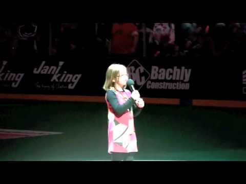 Isabelle Sings O Canada at the Toronto Rock Game