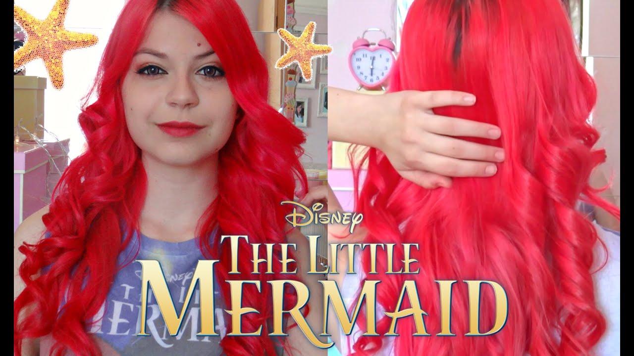The Little Mermaid Hair Tutorial Bright Red Hair Tutorial Youtube