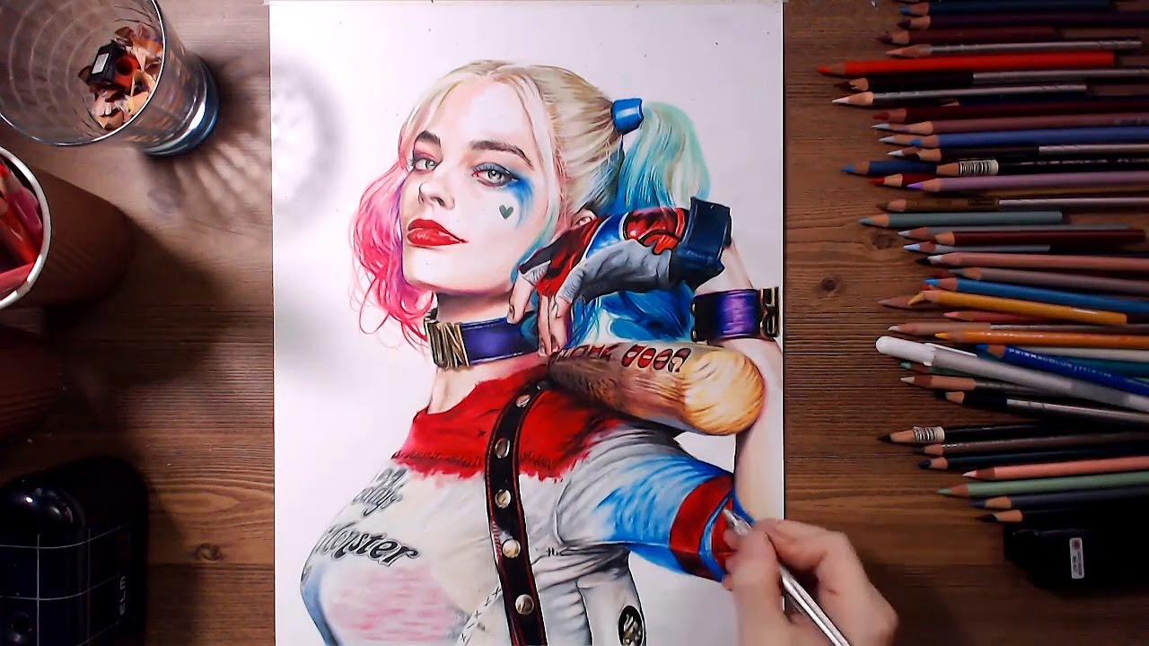 Suicide squad harley quinn margot robbie speed drawing