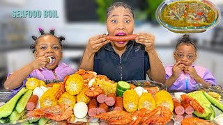 SEAFOOD BOIL MUKBANG King prawn, corn, hot dog, egg... | Asher tries spicy sauce for the first time