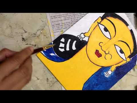 acrylic painting bride tribute to jamini roy artbyneeta neeta m