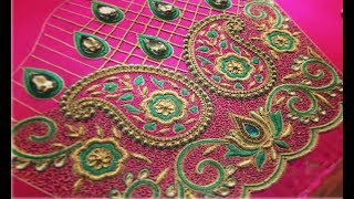 Amazing Thread Embroidery Work Blouse Designs For Border Saree | Maggam Work | Aari Work Blouse