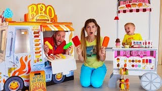 Max and Papa Pretend Play with ICE CREAM Drive Thru Toy Store FOOD TRUCK