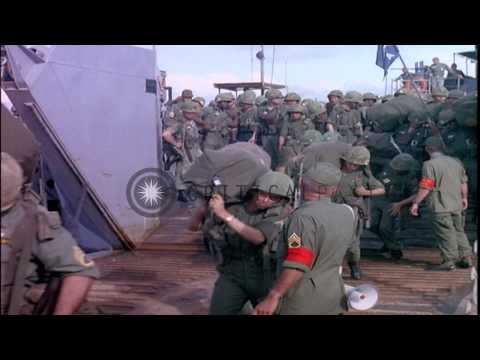 Major General Seaman and General Westmoreland on a beach in Vietnam HD Stock Footage