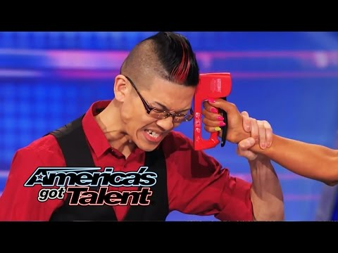 Rogue: Magician Plays Russian Roulette Game with Mel B  America's Got Talent 2014