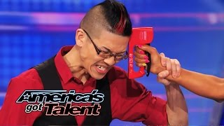 Rogue: Magician Plays Russian Roulette Game with Mel B - America's Got Talent 2014