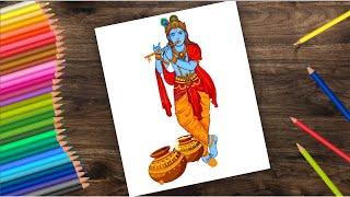 How to draw lord Krishna - Krishna Drawing | Janmashtami drawing
