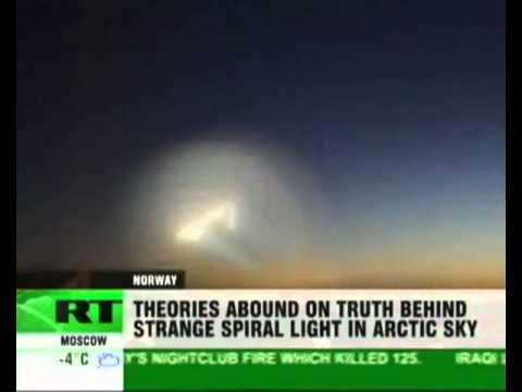 NORWAY UFO   strange spiral lights in norwegian sky   HAARP or terrorist attack