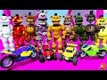 All the Freddy Animatronics Stunt with Mini Bikes & RC Race Cars! (GTA 5 Mods FNAF RedHatter)