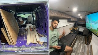 I Built an Oḟf Grid Solar TINY HOUSE in a Van in 2 Months | Van Build Start to Finish