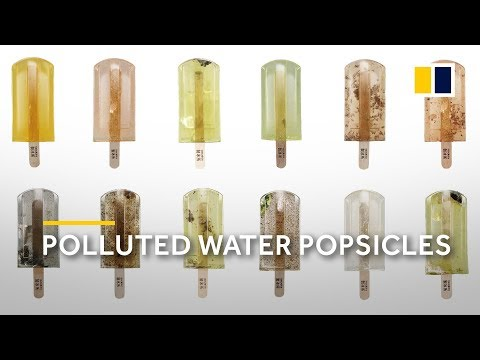 Water pollution: popsicles made of sewage water