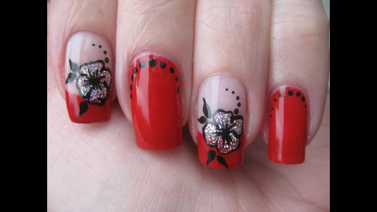 Nail Art Red French With Holo Flower Youtube