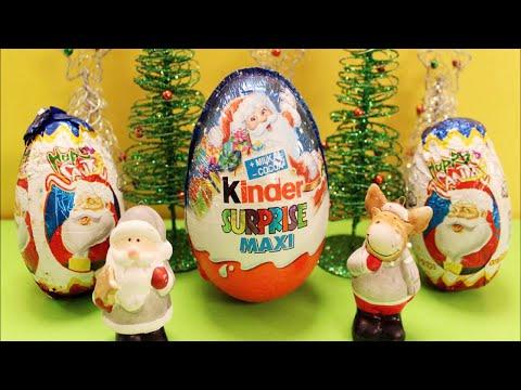 Surprise Eggs 2015 Christmas Xmas - Bóc trứng socola 3 quả trứng Giáng Sinh khổng lồ by Kids TV