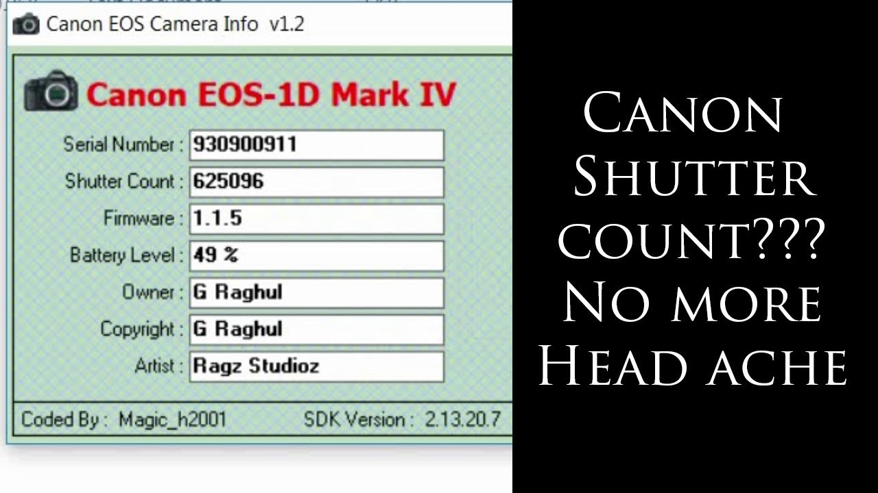 Simple And Easy Way To Check Canon Shuttercount Download Link Provided Youtube
