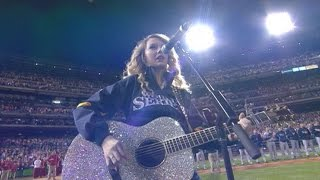 2008 WS Gm3: Taylor Swift sings the national anthem