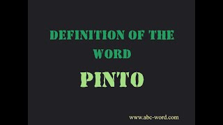 """Definition of the word """"Pinto"""""""