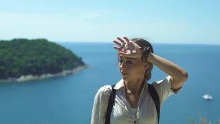 Traveler Wipes Brow Stock Video