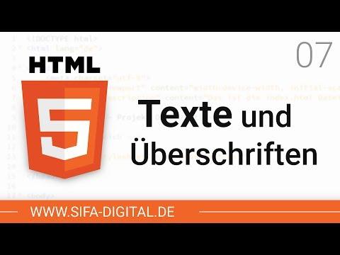 HTML Grundkurs: Texte Und Überschriften Hinzufügen #07 (4K) | SIFA Digital