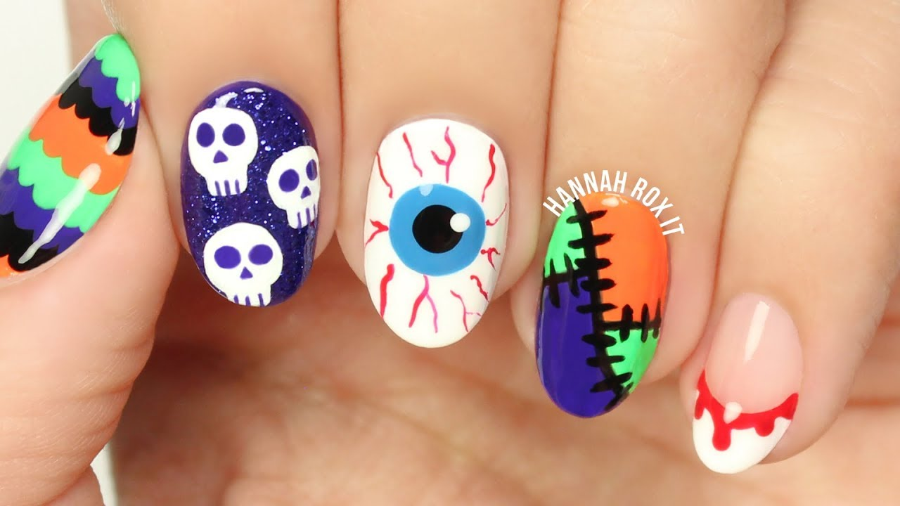 5 Fun Halloween Nail Art Ideas #2! - 5 Fun Halloween Nail Art Ideas #2! - YouTube