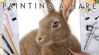 Painting a Hare using Airbrush, Pan Pastels & Pencils on Ampersand Claybord