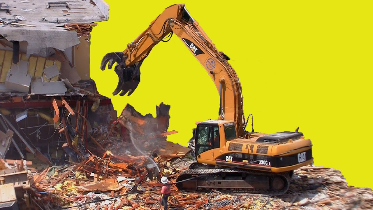 Excavator Tears Down Building at Demolition Site - YouTube