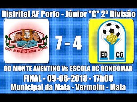 """Distrital AF Porto - Final Júnior """"C"""" 2ª Divisão - """"GD Monte Aventino Vs Escola DC Gondomar"""" 2017/18"""