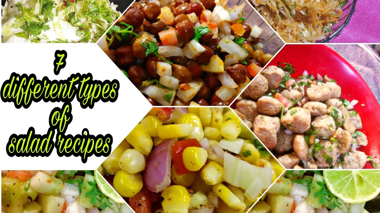 7 Days 7 Different Types Of Salad Weight Loss Salad Recipes Diet Recipes Indian Salad Recipes Youtube