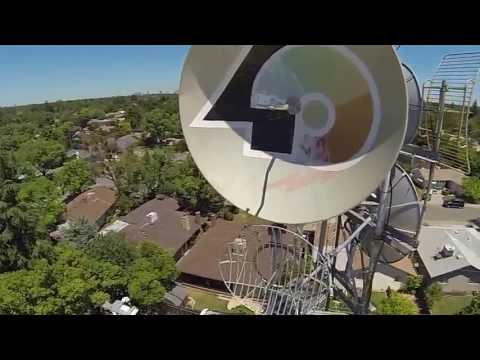 KTXL Fox40 Tower fly-by