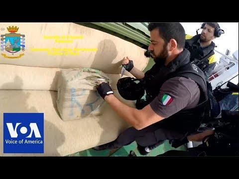 Italian police seize 10 tons of hashish in sea raid