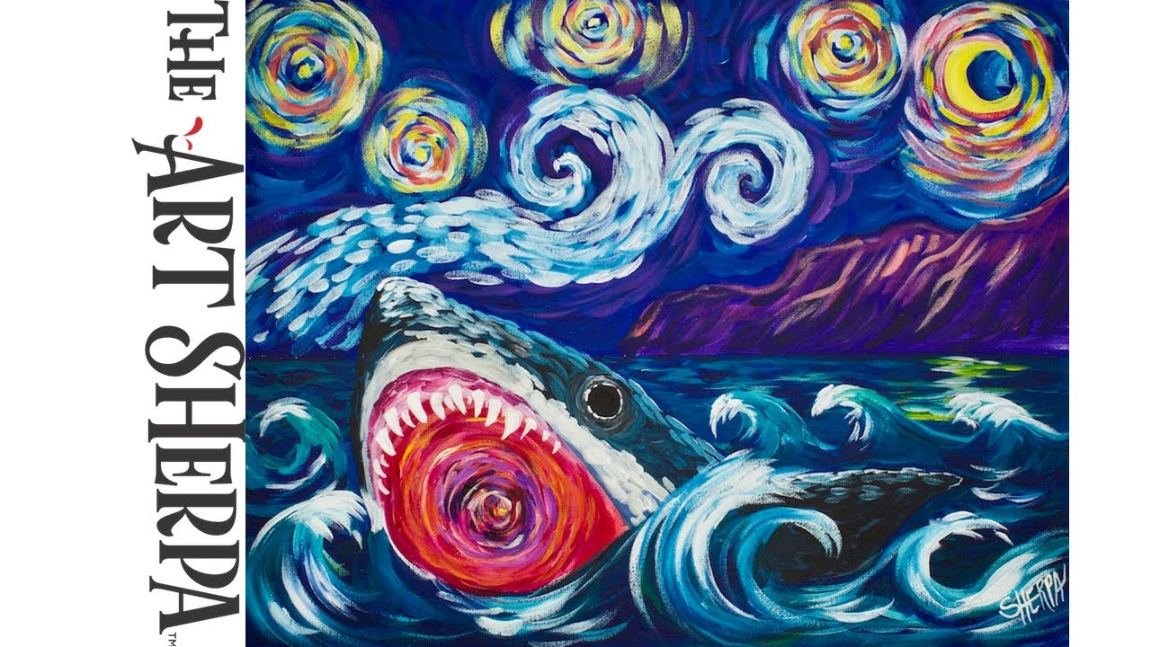 great white shark learn to paint like van gogh acrylic for