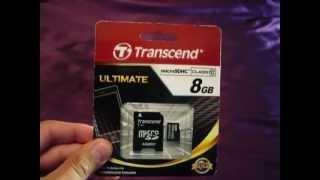 transcend microSDHC class 10, 8GB  распаковка / unboxing  bay193