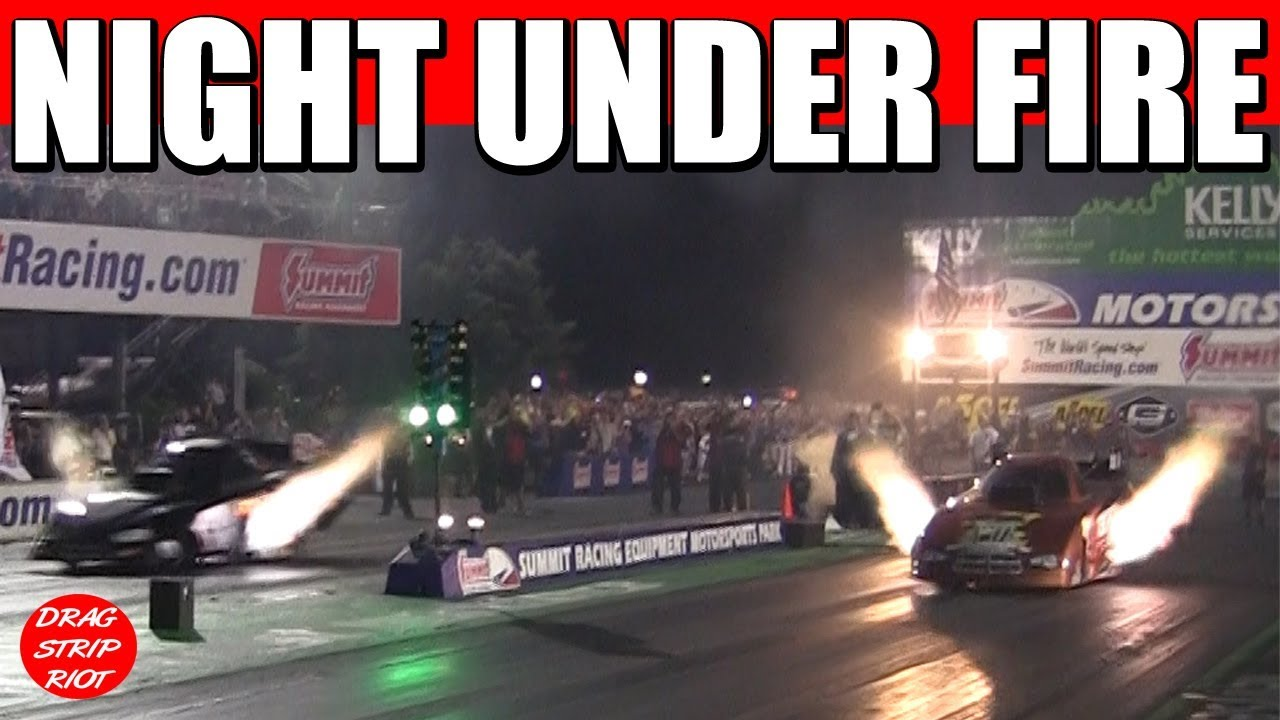 Night Under Fire Funny Cars Drag Racing Nitro Race Car Summit