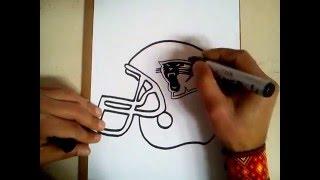 como dibujar el casco de las panteras de Carolina / how to draw Helmet Carolina Panthers