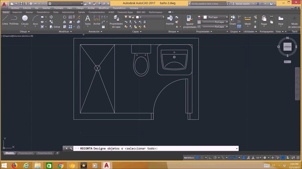 Tutorial 4 Dibujar Un Baño En Autocad