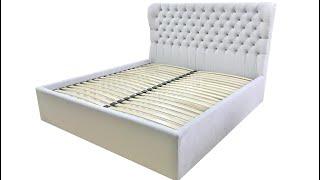 Серая кровать с мягким изголовьем на заказ