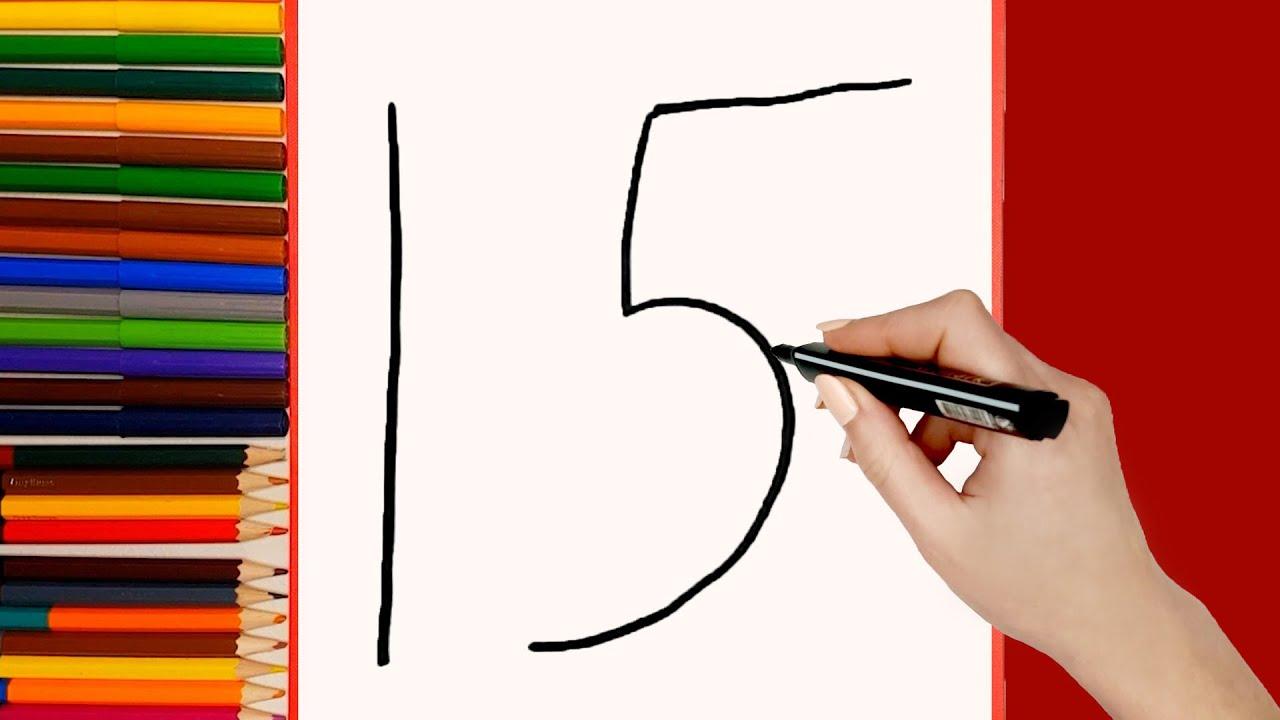 Cómo dibujar Pájaro Polla del número 15. Dibujo de animales para niños fácil