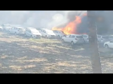 Over 200 cars gutted in a parking lot in Chennai