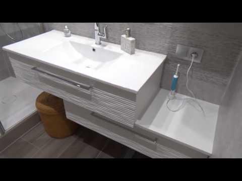 Meuble Décalé dans une Salle de Bains Moderne et Design - Atlantic Bain