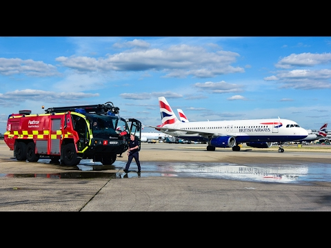 London Heathrow Airport Fire Fighters in Action HD