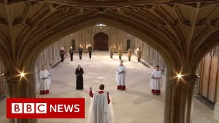 National anthem brings funeral of Prince Philip to a close - BBC News