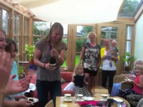 Anna Watkins celebrates Gold with her family in Staffordshire