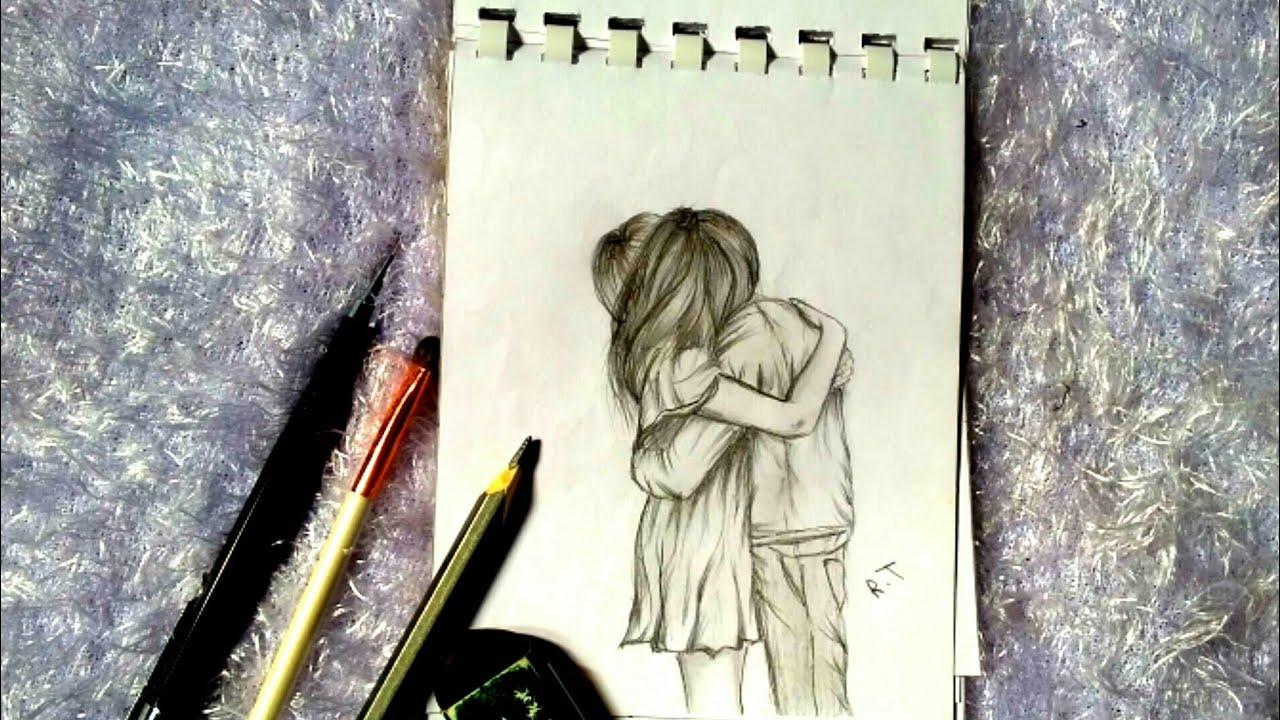 رسم سهل ||How to draw Romantic Couple with pencil sketch ...