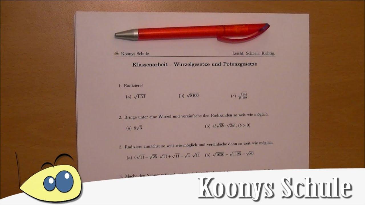 Intro AB 0995 - Klassenarbeit | Wurzelgesetze und Potenzgesetze ...