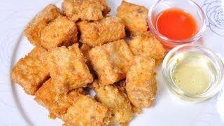 [thai Food] Fried  Flavored Tofu Stuffed With Minced Pork (tao Hu Proong Rod)