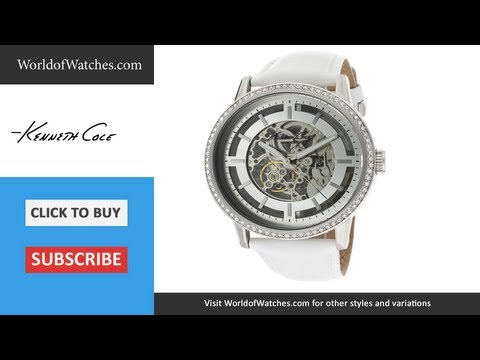 KENNETH COLE  Automatic Skeletonized Dial White Genuine Leather KC2690
